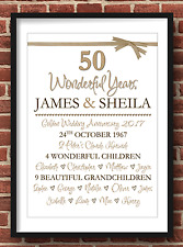 Personalised Golden Wedding Anniversary 50 Years Gift A4 (Print Only)