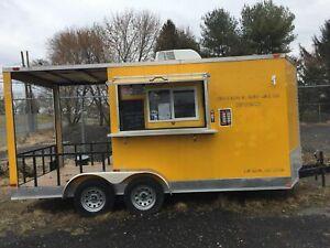 7 X 20 Concession Food Vending BBQ Trailer w  Porch , A C Heat, Wash sinks.