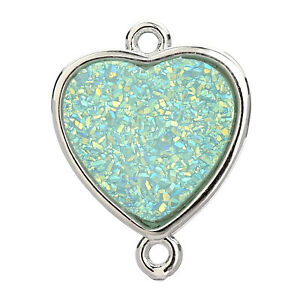 Green Turquoise Square 24K Gold Plated Over 925 Sterling Silver Reconstituted Bezel Charms Links Connector Pendant Bail DIY Jewelry
