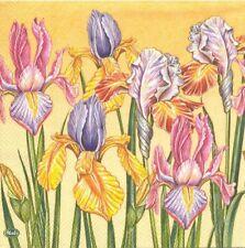 Lot de 2 Serviettes en papier Champ D'Iris jaune Decoupage Decopatch