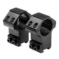 "NcSTAR 1 in. Aluminum Rifle High Scope Mount Rings Pair for 3/8"" Dovetail Black"