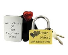 Love Lock Personalised Engraved Padlock Anniversary Gift Wedding Present +Choc D