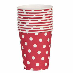 10 Pappbecher Punkte Dots rot weiß Clayre&Eef 8,5cm Picknick Geburtstag Party