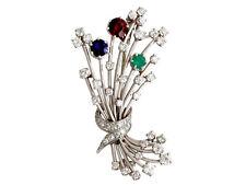 Vintage 3.20Ct Diamond & 1.79Ct Garnet Emerald & Sapphire Platinum Brooch
