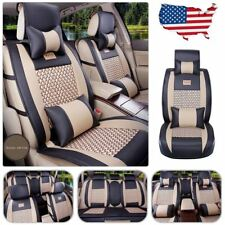 US 5-Seats Car PU Leather Comfort Mesh Seat Covers Front+Rear Pillows Set Size M