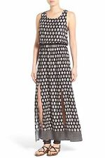 NWT NORDSTROM MIMI CHICA PRINTED MAXI DRESS BLACK SIZE M LACE UP BACK BLACK