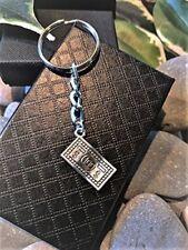 Handmade Silver 100 Dollar Bill Keyring / Bag Charm. Dad Father Gift Boxed.