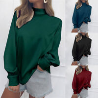 Women Long Sleeve Loose Blouse Shirt High Neck Lady Turtleneck Pullover Tops