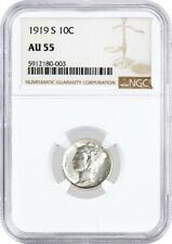New listing 1919 S 10C Silver Mercury Dime Ngc Au55 About Uncirculated Key Date Coin