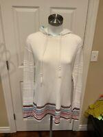 Athleta White Hooded Striped Sleeve Long Sweater, Size Medium