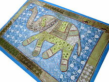 Tapisserie éléphant bleu turquoise Fait main Tenture indienne Paillettes Inde B1