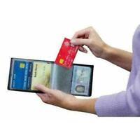 Mens Slim Wallet Kreditkarteninhaber Geldbörse schwarze mit Nett Tasche RFI L6H6