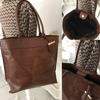 Large Faux Leather Bag Messenger Tote Grab Shoulder Handbag Tan Brown MOCK CROC