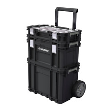22 in. Husky Portable Rolling Tool Box on Wheels Cart Part Organizer Storage Bin