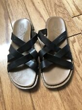 Women's KEEN Sofia Black Leather Cross Strap Slides Sandals Size 6.5 EU 37