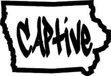 Iowa Captive Outline Sticker Self Adhesive Vinyl Decal IA White Vinyl