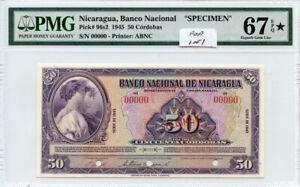 NICARAGUA 1945 ISSUE 50 CORDOBAS SPECIMEN RARE POP 1 OF 1 PMG-SUPERB-UNC-67-EPQ*
