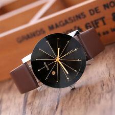 Women Men Luxury Stainless Steel Quartz Date Sport Leather Band Dial Wrist Watch Black Men's
