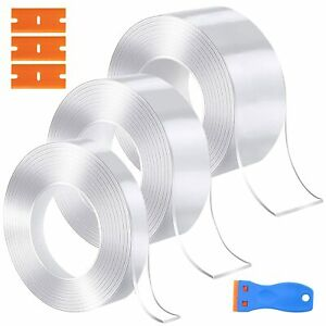 Strong Double Sided Tape Heavy Duty, 3PCS Washable Removable Nano Adhesive Tape,