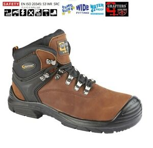 MENS SAFETY BOOTS GRAFTERS BROWN LEATHER SUPER WIDE FIT WATERPROOF SIZE 6-13