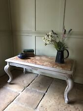 Marble Top Reproduction Painted Grey French Coffee Table TV Table