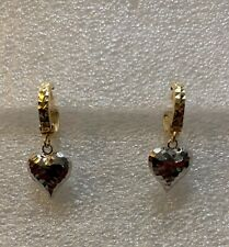 18k Saudi Gold Two Tone Heart earrings