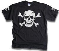 Skull Bones Sleeve Print Mens Womens Pirate Biker Goth t shirts Sm - 3XL