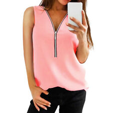 Women Zipper Sleeveless Casual Vest Top Blouse Ladies Summer Loose T Shirts Top