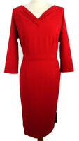NEW £69 Per Una M&S Size 14 Red Fitted Shift Dress V Neck Party 3/4 Sleeve Xmas