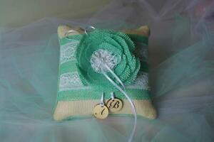 Rustic weddings Turquoise burlap lace ring bearer pillow, Handmade