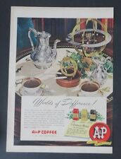 Original Print Ad 1949 A&P COFFEE Eight O'Clock Coffee Table Service