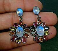 Natural AAA Tourmaline,Moonstone Gemstone 925 Sterling Silver Jewelry Earrings