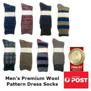 Men's Premium Wool Patterned Business Length Print Dress Socks 5 PAIRS for 29.99
