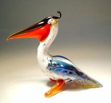 Blown Glass Art Blue and Red Bird Pelican Figurine