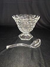 Vintage Glassware - Fostoria American Cube Pattern Condiment Bowl with Ladle