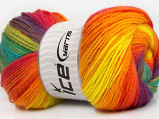 Lot of 4 x 100gr Skeins ICE MAGIC LIGHT Hand Knitting Yarn Rainbow