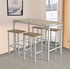 WestWood Pub Bar Breakfast Dining Table With 4 Stools Room Set BTS01 Natural