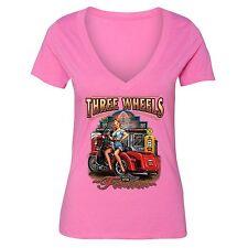 Three Wheels Motorcycle Tshirt Vehicle USA Blonde American Girl T-shirt Pink