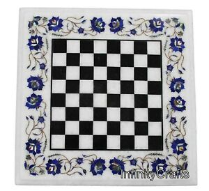 15 Inches Marble Coffee Table Top Square Shape Game Table Inlay Art at Border