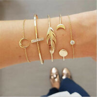 5Pcs/Set Boho Crystal Women's Gold Chain Cuff Bracelet Bangle Wrist Band Jewelry