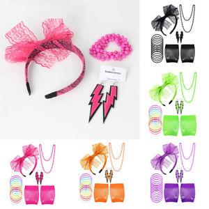 80s Accessories Fishnet Gloves Earrings Headband Bracelet Hen Party Fancy Dress