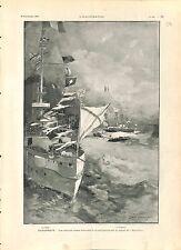 Nicolas II France Drapeau Croix de Saint-André de Russie Dunkerque GRAVURE 1901