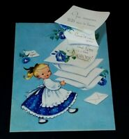 Vintage Birthday Greeting Card Girl Blue Dress Flowers 3D Note Card 1950s