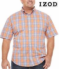 NWT $55 XLT IZOD Orange Blue Short Sleeve Plaid 100%Cotton Button Front Shirt