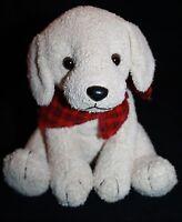 "Russ Plush DOG SCARFS 7"" Stuffed Animal Tan Soft Toy Red Plaid Bandana 21235"