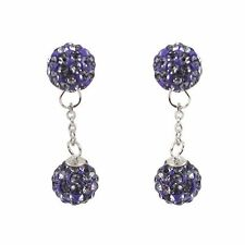 Sterling Silver Gold Plated Purple Crystal Balls Dangle Drop Earrings