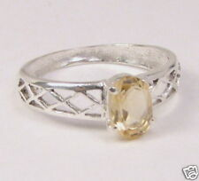Sterling Silver Citrine Solitaire Ring Sz 6¼    # CR117