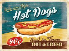 Hot Dogs Hot&Fresh - Retro XL Blechschild 30x40 cm geprägt  Sign Schild  23169
