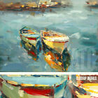 """47W""""x35H"""" LAKESIDE BOATS BY THE DOCK -STRETCHED OIL PAINTING REPRODUCTION CANVAS"""