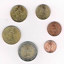 France 2019 6 pieces coins 1 cent, 2 cents, 10 cents, 20 cents, 50 cents, 2 euro